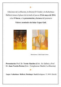"""Presentación del poemario """"Valores nominales"""", de Itzíar López Guil, el jueves 22 de mayo de 2014 en Zúrich."""