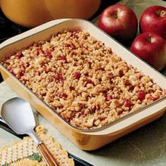 Thought this looked so yummy and easy!  I always made apple crisps when the kids were little and this is a fun variation on it with cranberry's!!  http://www.tasteofhome.com/Recipes/Cranberry-Apple-Crisp