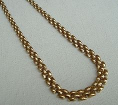 """14K Solid Yellow Gold Graduated Wide Link Necklace 16 1/2""""  Italy 10 grams OTC #HalfMoonLink"""