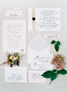 wedding invitation suite by Sideshow Press, calligraphy by Tara Jones, Jose Villa photography.