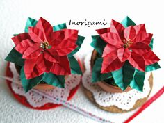 Kawaii 3D Origami Mini Poinsettia Pot / Christmas by Inorigami