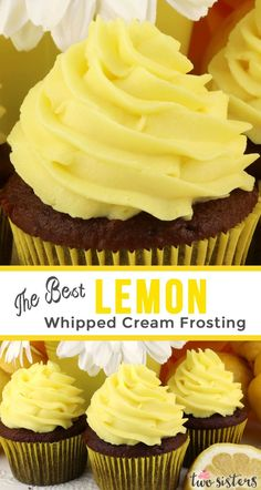 The Best Lemon Whipped Cream Frosting The Best Lemon Whipped Cream Frosting - a light and creamy frosting with just the right amount of lemon flavor. A great frosting for Spring and Summer! Perfect for when you need a frosting a little lighter than butter Frosting Cupcake, Cupcake Creme, Lemon Frosting, Cupcake Cakes, Homemade Cupcake Icing, Icing For Cupcakes, Lemon Icing Recipe, Jello Frosting, Wedding Cake Frosting