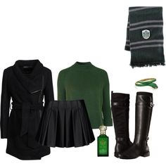 Slytherin by kimmmeo on Polyvore featuring Topshop, mbyM, Armani Jeans, Aerosoles, Clive Christian and Elope