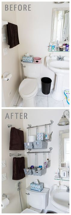 Need over the toilet storage? Install towel bars and hang baskets from them to make simple DIY hanging storage bins!