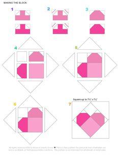 Love Quilt by Monica Solorio-Snow - Monica Solorio-Snow Patchwork Heart, Patchwork Patterns, Patchwork Quilting, Quilt Block Patterns, Pattern Blocks, Quilt Blocks, Star Quilts, Mini Quilts, Quilting Templates