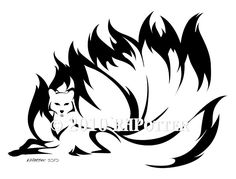 A new kitsune commission--and this one is the first-ever fox with the full nine tails! Getting all the tails to work well with the design was certainly . Kyuubi no Kitsune Tribal Drawings, Tribal Tattoo Designs, Tribal Art, Easy Love Drawings, Fox Silhouette, Fuchs Tattoo, Nine Tailed Fox, Fox Spirit, Anime Wolf