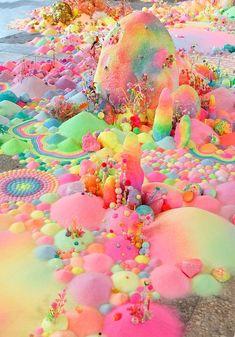 pip & pop - Candyland Landscapes installation by Aussie artist Tanya Schultz using sugar, glitter and plastic toys. Rainbow Wallpaper, Wallpaper Backgrounds, Iphone Wallpaper, Trendy Wallpaper, Art Pop, Candy Art, Rainbow Aesthetic, Peach Blossoms, Australian Artists