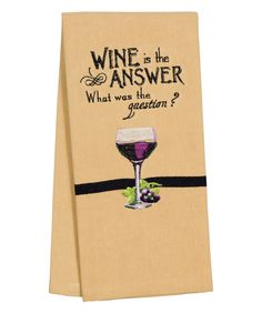 'Wine is the Answer' Guest Towel - Set of Four by Carson Home Accents #zulily #zulilyfinds