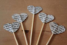 25 Heart shaped cupcake toppers made from pages of Anne of Green Gables. Featuring names, places and sentiments from the beloved book. These are double sided so it doesnt matter which way they are facing.  This would be a lovely addition to any party or function you are having! Especially if it is Anne of Green Gables or book themed. Please find other cupcake toppers from classic books and music sheets in my other listings.