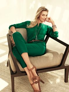 emerald green slacks and blouse