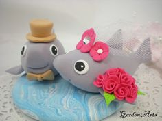 NEW--Love Shark Couple with Clay Ocean Base -Custom Order for Summer Wedding. $69.00, via Etsy.