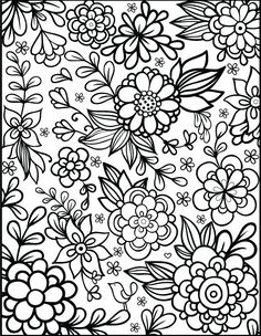 floral coloring page dream of a flower instant door fleurdoodles kleuren pinterest doors floral and flower - Flowers Coloring Pages
