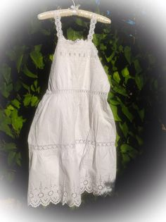 Pretty White French Vintage Petticoat in cotton and Antique  broiderie anglaise circa 1920.  Exquisite Handmade. by fleursenfrance. Explore more products on http://fleursenfrance.etsy.com