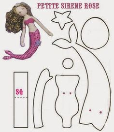 ARTE COM QUIANE - Paps,Moldes,E.V.A,Feltro,Costuras,Fofuchas 3D: Molde pequena sereia para feltro e eva