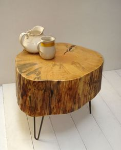 stump side table from tree formerly growing in Ruidoso, New Mexico