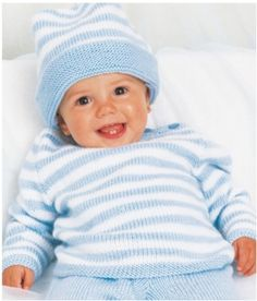 stripped jumper with matching hat. Great pattern with preemie and newborn sizes for sweeter, pants and hat.