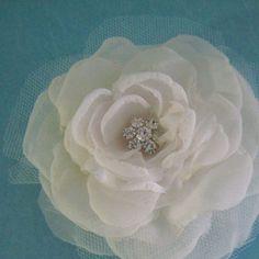 Bridal hair flower Ivory Organza Chiffon Rose Hair by HARTfeltart, $35.00