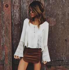 2017 New Boho Chiffon Blouse Women Tops Flare Sleeve Hollow Out Shirt Ladies Office Casual Blouse Fashion Blusas Chemise Femme Bohemian Mode, Bohemian Style, Bohemian Outfit, Boho Chic, Spring Summer Fashion, Spring Outfits, Winter Outfits, Looks Style, My Style