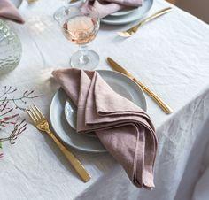 Rough Linen | Dining Room | Tableware | 100% Orkney Linen Napkin | Dusk or Pink