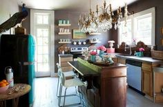 House of Turquoise - Country Kitchen Eclectic Kitchen, Cute Kitchen, Kitchen Dining, Funky Kitchen, Neutral Kitchen, Dining Room, French Kitchen, Island Kitchen, Rustic Kitchen