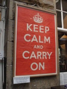 "In 1939 2.5 million ""Keep Calm"" posters were printed, but were kept in reserve for a top potential panic-inducing event like a German invasion of Britain. The worst case scenario didn't happen, so ""Keep Calm"" never actually made it to the streets."