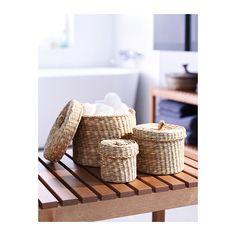 LJUSNAN Pudełko z pokrywką, 3 szt. IKEA Produkt został wykonany ręcznie, dzięki czemu każdy egzemplarz jest niepowtarzalny. koszyki do WC