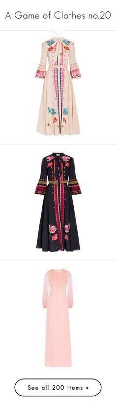 """""""A Game of Clothes no.20"""" by ms-perry on Polyvore featuring dresses, cream dress, embroidery dress, pink bell sleeve dress, pink button down dress, embroidered dress, black, button up dress, neck ties и rainbow dresses"""