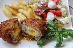 Jajka po szkocku - kotlety mielone z płynnym żółtkiem Baked Potato, Potatoes, Chicken, Meat, Baking, Ethnic Recipes, Kitchen, Food, Beef