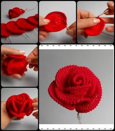 crochet flower patterns How to Crochet Pretty Roses - Today we are going to show you – how to Crochet Pretty Roses. Crochet Pretty Roses will be a great gift for every woman on birthday.How to Crochet Pretty Roses - More like how to SEW pretty rose Roses Au Crochet, Crochet Puff Flower, Knitted Flowers, Crochet Flower Patterns, Crochet Designs, Crochet Bouquet, Crochet Diy, Love Crochet, Crochet Gifts