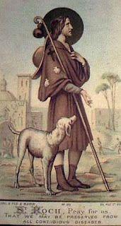 Saint Roch is the patron saint of dogs. My sister's interpretation of the Saint Roch story. The feast of Saint Roch day is this month,. Patron Saints, Catholic Saints, Roman Catholic, Religious Pictures, Religious Art, San Rocco, Saint Roch, Vintage Holy Cards, Tarot