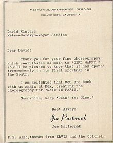 A Letter from MGM President Joe Pasternak and Elvis Presley to David Winters thanking him for his choreography on Girl Happy. David Winters' choreography and dancers have contributed significantly to the success of a number of Elvis Presley's films.