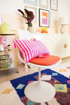 This vintage tulip chair, paired with a bright pink striped pillow is a pop of colorful fun for a lively living room design! Room Makeover, Room, Interior, Beauty Room, Room Inspiration, Neon Room, Dorm Living, Home Interior Design, Living Room Designs