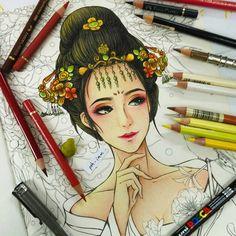 "WIP~ ""古风红妆"" Swipe to see my colouring steps.  #colouringbook #adultcolouringbook #adultcoloringbook #colouringbookforadults #coloringbookforadults #colouringforgrownups #chineseart #chineseancient #antiquity #chinesecoloringbook #chinesecolouringbook #polychromos #polychrome #coloringmasterpiece #creativelycoloring #coloring_secrets #majesticcoloring #beautifulcoloring #colorindolivrostop #artecomoterapia #livrodecolorir #arte_e_colorir #bayan_boyan #desenhoscolorir #浮生赋 #古风画 #古风 #彩铅 #著色本 #畫"