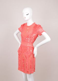 Coral Pink Bead and Sequin Embellished Ruffle Trim Silk Dress