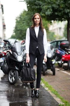 Long fluid vest + white shirt buttoned to the top + black skinnies + black booties. Particularly fond of the patent booties with this combo.