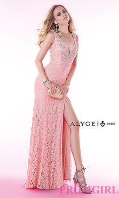 Long Lace Gown with a Sheer Back by Alyce at PromGirl.com