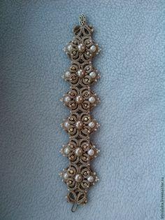 """Pulsera """"Shimmering Pearls"""" - Ankars, encaje de bolillos, pulsera con la perla, pulsera hecha a mano"""