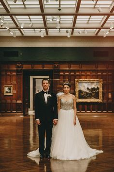 Chic Cincinnati Art Museum wedding with a gorgeous encrusted Maggie Sottero wedding dress.