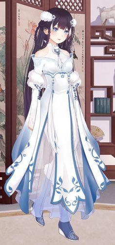Moderne ribenische Oiran in an ein Hanfu angelehnte Kleidung Moe Anime, Anime Kawaii, Manga Anime, Anime Art, Anime Girls, Manga Girl, Chibi, Character Inspiration, Character Design