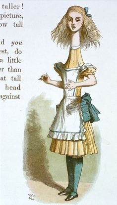 """Alice after drinking the first potion"" Illustration for the second chapter by Sir John Tenniel, 1865 coloured and enlarged in the Nursery Alice edition of 1890"