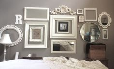 Whites frames on a wall for the home дом, интерьер, спальня Empty Frames, Frames On Wall, White Frames, Diy Home Decor Bedroom, Bedroom Ideas, Vintage Frames, Home Decor Inspiration, Ideal Home, Decoration