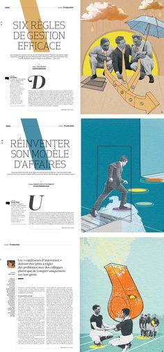 Three full pages for Premium Magazine-Katy Lemay illustration