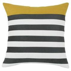 """Striped linen and cotton-blend pillow. Made in Council Bluffs, Iowa.   Product: PillowConstruction Material: Linen and cotton blend cover and polyester fillColor: Grey, white and yellowFeatures:  Insert includedZippered closure Made in the USADimensions: 19"""" x 19"""" Cleaning and Care: Hand or spot clean"""