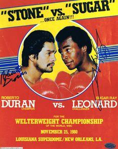 """Duran-Leonard II, 25.11.1980 - mais conhecido como """"No Más Fight"""", porque no oitavo round, Roberto Duran pediu pro árbitro encerrar a luta. O motivo """"oficial"""" foi uma comida que não caiu bem, o que eu duvido.  (mas eu gosto desse pôster e da tagline)"""