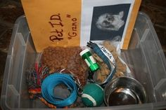 """Preparing a Disaster Kit for Pets. The Pet ID kit is great to have in car in the event your dog gets out of the yard or is lost too. All vital info, pictures and generic """"lost"""" flyer included."""