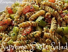 ~Supreme Pasta Salad~ A tasty side dish, light lunch or summer cook-out classic, this is sure to please! Filled with crunch veggies and a flavorful dressing, it's simple and delicious!