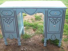 I revamped this family heirloom vanity for a friend,  she is adding a pad to the top and will be passing it down to her neice to use in her baby nursery..what a great idea!!!