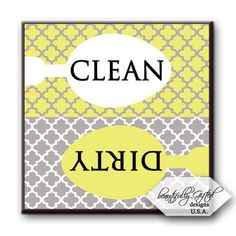 Dishwasher Magnet Clean Dirty Sign - Cute Quatrefoil Classy Moroccan Trellis Design - Home or Office Organization Tool - Yellow White Grey - x - Gag Gift Idea or Christmas Stocking Stuffers