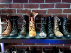 #Budget friendly #shoe #store in #NewYork. Women's boot display at Shoegasm #NYC #travel #Guideto