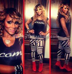 Tamar Braxton's .COM Tee + Black & White Asymmetric Striped Leggings Fashion Tv, Girl Fashion, Simply Fashion, Star Fashion, Foreign Celebrities, Love And Hip, Tamar Braxton, Royal Babies, Black Girls Rock